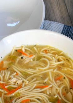 Chicken Soup With Spaghetti recipe that is comforting, warming and delicious. Easy to make with ingredients you already have in your pantry. Perfect when looking for a comforting chicken soup recipe. #chinesefoodrecipes