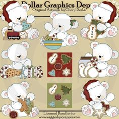 Christmas Cookie Polar Bears - Clip Art - $1.00 : Dollar Graphics Depot, Quality Graphics ~ Discount Prices