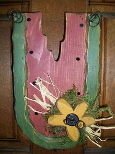 Watermelon Slice Wood Door Hanger Sunflower