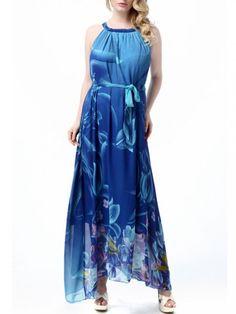 3fc67b031d Elegant Bohemian Halter Collar Sleeveless Printing Maxi Dress Blue Chiffon  Dresses
