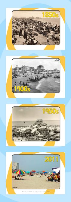 The seaside- Seaside through the ages display photo posters