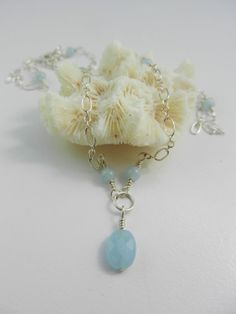 Aquamarine and Silver Necklace ~ Wire Wrapped Sterling ~ March Birthstone