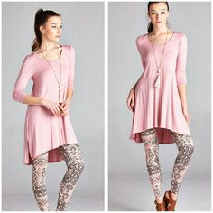 Pre Order Dusty Pink Tunic Size S M L XL Beautiful and flowy dusty pink tunic, looks great with leggings or jeans Material is rayon and spandex  Sizes available S M L XL  Price Firm unless bundled boutique  Tops Tunics