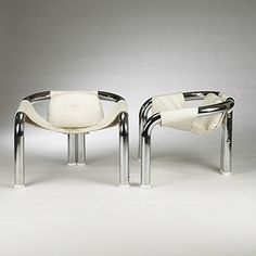 Artist: Byron Botker Title: Palo Alto lounge chairs (pair) , ca. 1970 Medium: chrome, vinyl upholstery, wood Size: 27 x 35 x 30 in. (68.6 x 88.9 x 76.2 cm.)
