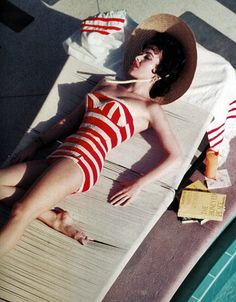 Mara Lane in a Jantzen swimsuit at the Sands Hotel, Las Vegas, NV. Photo by Slim Aarons, 1954