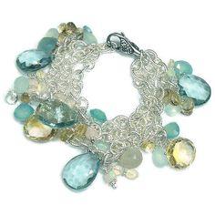 Beaded Gemstone Bracelet, Silver Gemstone Bracelet, Wire Wrapped Gemstone Cluster Bracelet by VanDerMuffinsJewels on Etsy https://www.etsy.com/listing/223542664/beaded-gemstone-bracelet-silver-gemstone