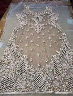 Light gray wedding party dress with silver work dabka perl nagh and cutwork jall Model 37 Pakistani Formal Dresses, Pakistani Wedding Outfits, Pakistani Dress Design, Hand Embroidery Dress, Embroidery Suits Design, Hand Embroidery Designs, Party Wear Dresses, Wedding Party Dresses, Tambour Beading