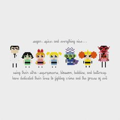 Powerpuff Girls Cross Stitch Pattern PDF por pixelsinstitches
