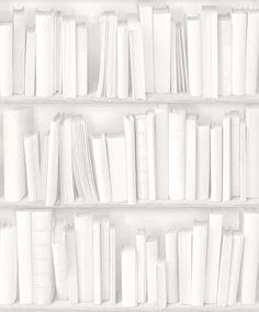 Papier Peint Bibliothèque Actuelle Blanche - Koziel
