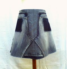 Bleached Patchwork of recycled jeans skirt by DLFine on Etsy