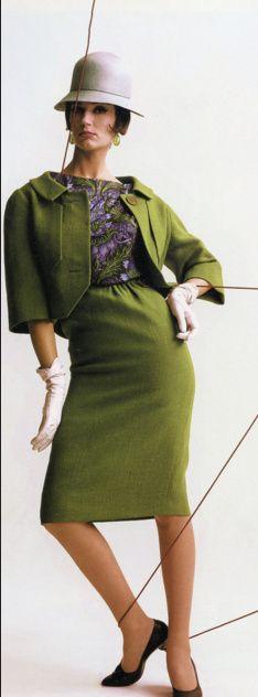 1961 Simone in green suit, Harper's Bazaar