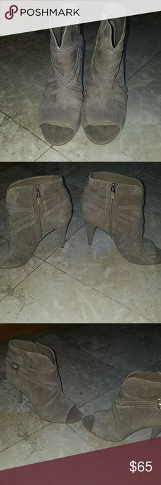 New8.5 Vince Camuto Tan Suede Peep Toe boot heels Brand new never worn! Size 8.5 Vince Cauto tan suede peep toe boot heels with straps.  In perfect condition! Super cute and stylish! Vince Camuto Shoes Heeled Boots