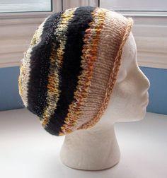 Beanie hat wool knit unisex  black beige mustard by SpinningStreak on Etsy