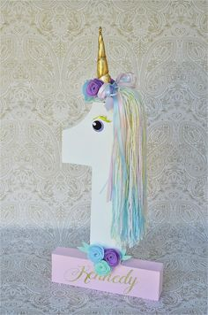 Unicorn Birthday No. 1 unicorn decor This listing is for a #1 party decor (see photo 1-3). It was inspired by unicorn party theme! It is hand-painted and f