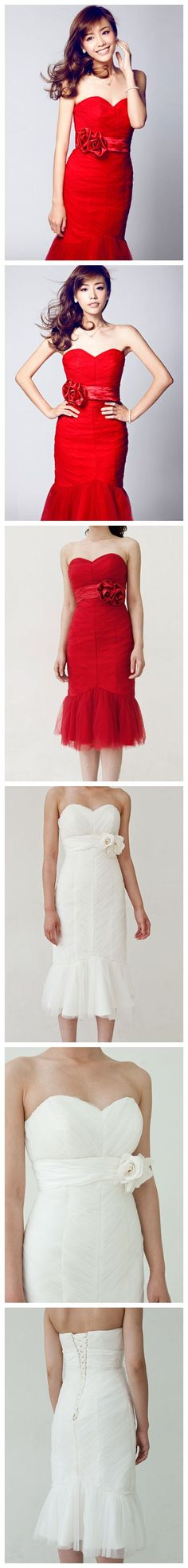 Trumpet / Mermaid Sweetheart Lace-up Short Wedding Dress--LOVE this red dress.says it's a wedding dress, can't really see that, but would wear the red one to a wedding! Cute Wedding Dress, Fall Wedding Dresses, Colored Wedding Dresses, Bridesmaid Dresses, Bridesmaids, Dress Alterations, Mermaid Sweetheart, Looks Style, Dress Me Up