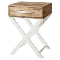 Threshold™ White and Natural Finish X-Base Accent Table