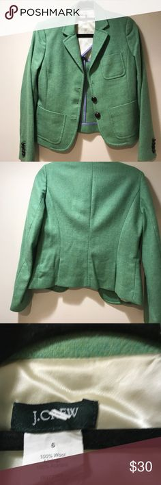 J Crew Green 100% Wool Jacket- Size 6 J Crew Green 100% Wool Jacket- Size 6.  Missing one button. Excellent Used Condition J. Crew Jackets & Coats Blazers