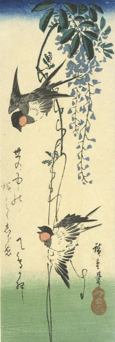 Barn Swallows and Wisteria (Fuji ni tsubame) – Objects - RISD MUSEUM