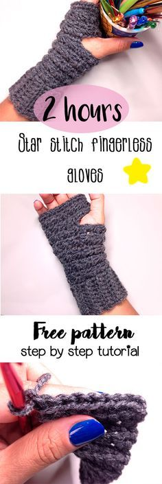 FREE PATTERN Star Stitch fingerless gloves. Video tutorial and written pattern.