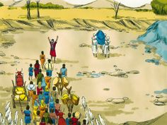 Free Bible illustrations at Free Bible images of Joshua asking the priests, carrying the Ark of the Covenant, to enter the flooded River Jordan and the miraculous crossing that followed. (Joshua 3:1 - 4:24): Slide 4