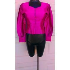 Vintage 80s Hot Pink Puff Shoulder Shiny Heart Shirt Top Blouse Sz Small