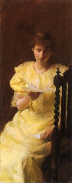 Art by American Impressionist Painter Charles Courtney Curran. Lady in Yellow.