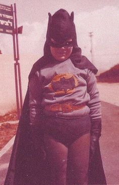 Vintage color photo- Homemade batman halloween costume