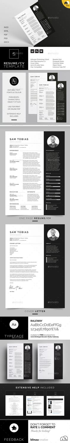 Resume/CV - Cover letter templates. artwork and text is fully customisable; Easily edit the typography, wording, colors and layout. Each template uses a strong baseline/document grid which will allow you to edit or add to the layout very easily.