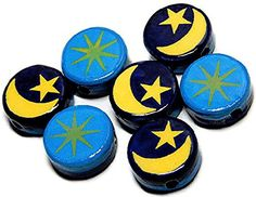 Luxury  Custom 20mm of 20 Individual Loose Large Size Flat Round Circle Beads Made of Genuine Ceramic w Hand Painted Double Sided Astrology Moon  Stars Design Blue Yellow ** To view further for this item, visit the image link.