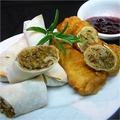 Leftover Turkey Spring Rolls with Cranberry Sweet and Sour Dipping Sauce - Allrecipes.com