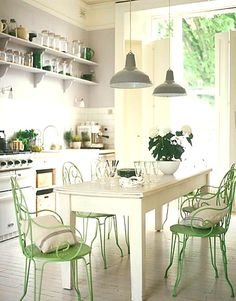 White and green kitchen.