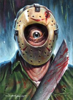 "Jason Edmiston's Art Store — ""Tiny Features Slashers: Jay"" - x limited edition giclee Horror Icons, Horror Art, Horror Movies, Horror Villains, Horror Film, Jason Edmiston, Jason Voorhees, Classic Monster Movies, Classic Monsters"