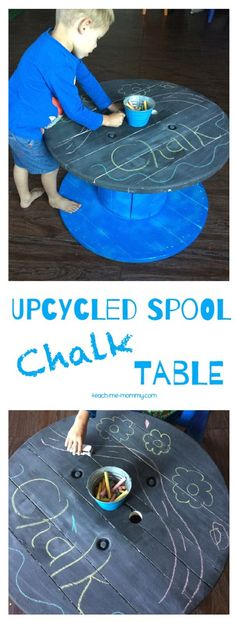 Upcycled Spool Chalk Table Use an old spool to make this simple chalk table, perfect for any playroom!
