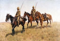 Often called the Last Patrol, the painting depicts a scene from the Boer war, showing a party of Lancers bringing a riderless horse back from patrol. Art prints reproduced by kind permission of the 9th / 12th Lancers.