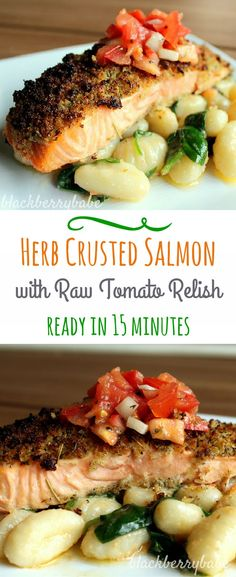 Herb Crusted Salmon with Tomato Relish Recipe |Ready in 15 minutes | blackberrybabe.com