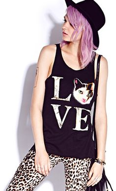 #Forever21                #love                     #Kitty #Love #Tank        Kitty Love Tank                                     http://www.seapai.com/product.aspx?PID=58234