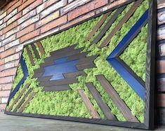 Moss Wall Art with Manzanita branches. Real preserved moss, ferns, and driftwood. Moss Wall Art, Moss Art, Manzanita Branches, Green Wall Decor, Zen, Industrial Living, Handmade Frames, Wooden Wall Art, Picture On Wood