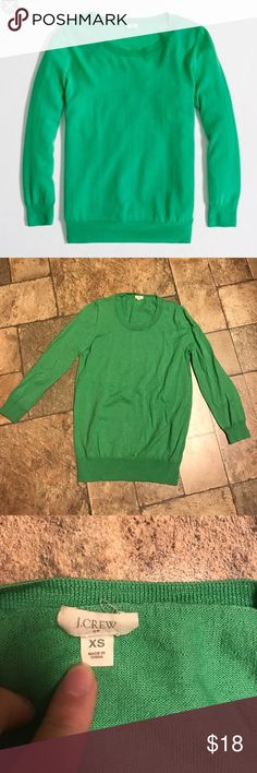 J.Crew Merino Wool Green Crew Neck Sweater Very cute! Color more accurately reflected by second picture. In excellent condition. Three quarter length sleeves. J. Crew Sweaters Crew & Scoop Necks