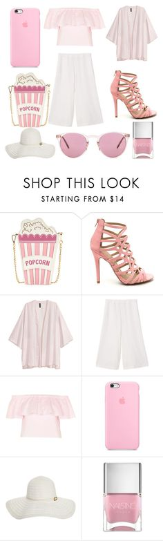 """""""Summer Pastel Pinks"""" by amber-lanehart ❤ liked on Polyvore featuring H&M, MANGO, Topshop, Melissa Odabash, Nails Inc. and Oliver Peoples"""