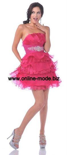Kurzes Abendkleid Cocktailkleid in Pink von www.online-mode.biz