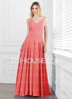 Bridesmaid Dresses - $119.99 - A-Line/Princess V-neck Floor-Length Chiffon Bridesmaid Dress With Ruffle Beading (007013074) http://jjshouse.com/A-Line-Princess-V-Neck-Floor-Length-Chiffon-Bridesmaid-Dress-With-Ruffle-Beading-007013074-g13074