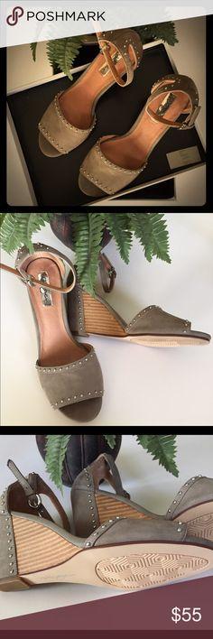 "Halogen Wedge Sandal Shoe Halogen Louise Studded Wedge Sandal Size 6 M Heel 3"" Adjustable ankle strap with buckle closure. The shoe runs small Halogen Shoes Sandals"