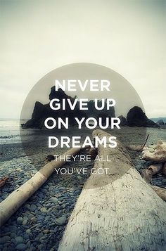 never give up on your dreams, They're all you've got quote Great Quotes, Quotes To Live By, Inspirational Quotes, More Than Words, Some Words, Words Quotes, Me Quotes, Sayings, Attitude Quotes