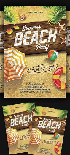 Modern Beach party flyer designs are ready to use. Party flyer designs are used for nightclub party, customise the PSD Beach party flyer design template Graphic Design Brochure, Graphic Design Fonts, Graphic Design Pattern, Summer Beach Party, Beach Fun, Business Flyer Templates, Flyer Design Templates, Corporate Flyer, Corporate Business