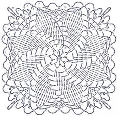How to Crochet a Solid Granny Square Crochet Tablecloth Pattern, Crochet Doily Diagram, Crochet Bedspread, Granny Square Crochet Pattern, Crochet Stitches Patterns, Crochet Chart, Crochet Squares, Crochet Motif, Crochet Designs