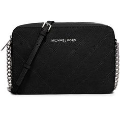 MICHAEL Michael Kors Jet Set Travel Large Crossbody Bag (€150) ❤ liked on Polyvore featuring bags, handbags, shoulder bags, black, travel shoulder bag, black crossbody purse, crossbody travel purse, cross body travel purse and quilted crossbody