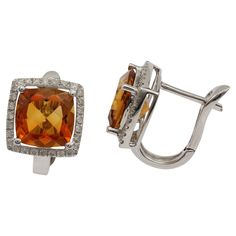 Beautiful 18ct White Gold, 4.31ct Citrine & Diamond Clip Back Earrings #graysonline #auction #diamond #citrine #earrings