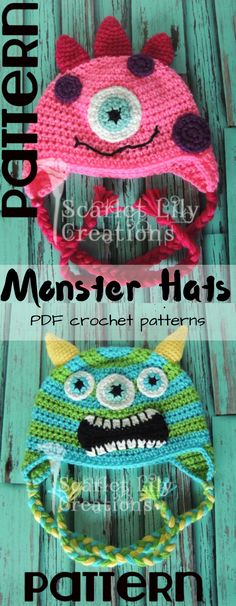 Super cute and fun monster hat crochet patterns. Adorable beanies for kids! #etsy #ad #toque