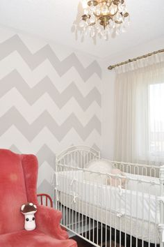 A gray chevron wall is always a crowd pleaser!