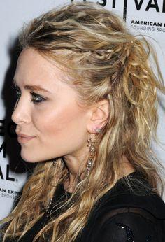 Mary Kate Olsen's little braids in surfy hair